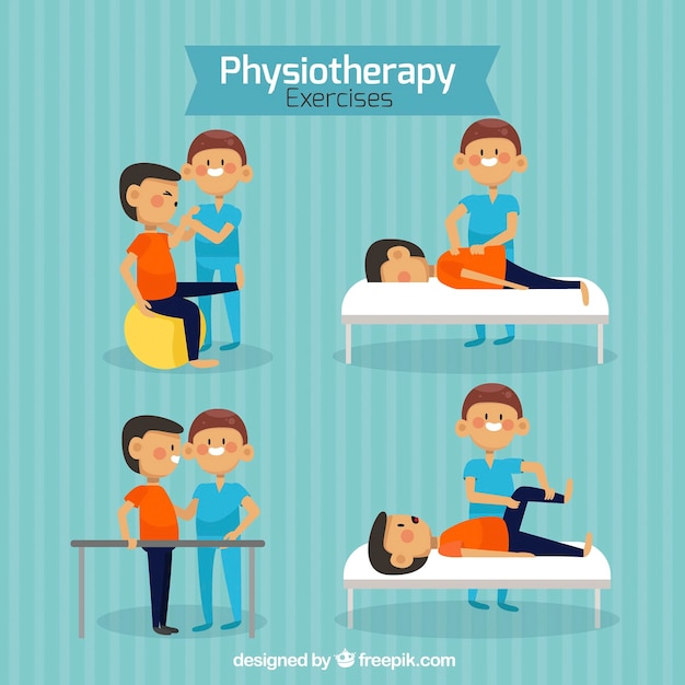 Набор физиотерапии с приятными персонажами Бесплатные векторы