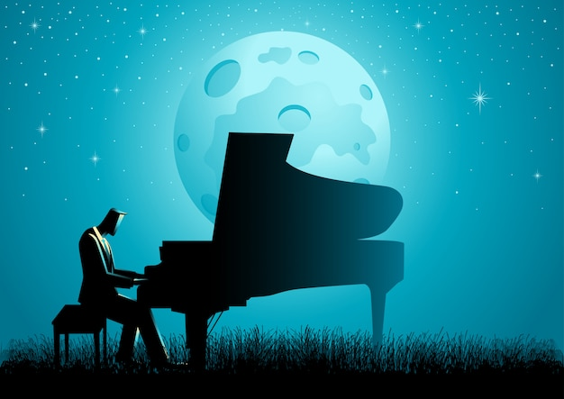 The pianist during full moon Premium Vector