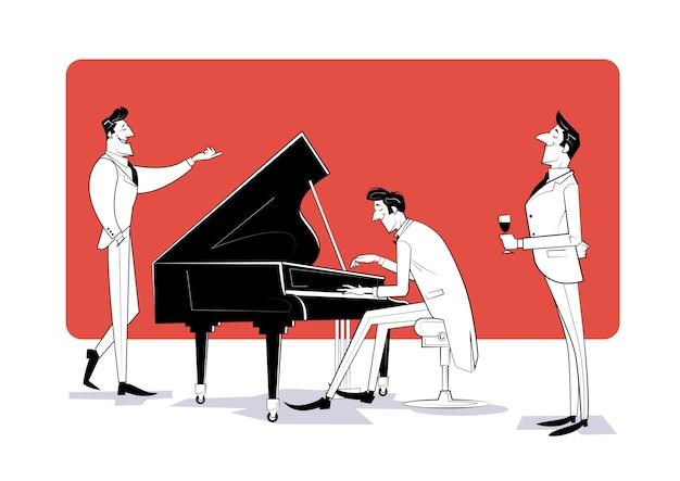 Пианист сидит за роялем и играет для гостей. эскиз иллюстрации Premium векторы