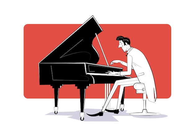 Пианист сидит за роялем и играет музыку. эскиз иллюстрации Premium векторы