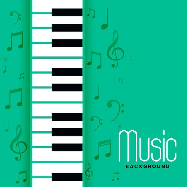 ピアノと音符のメロディーの背景 無料ベクター