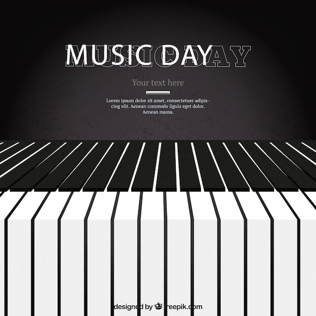 Piano Background Music: Piano Background For The Music Day Vector