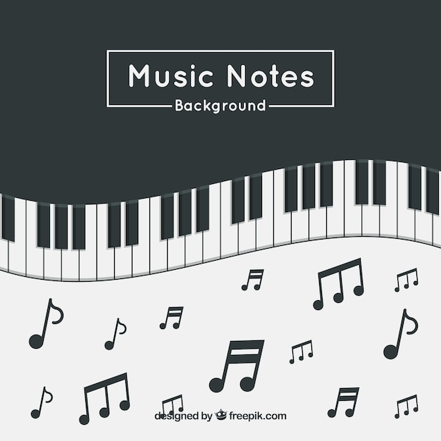 Piano Background Music: Piano Background With Music Notes Vector