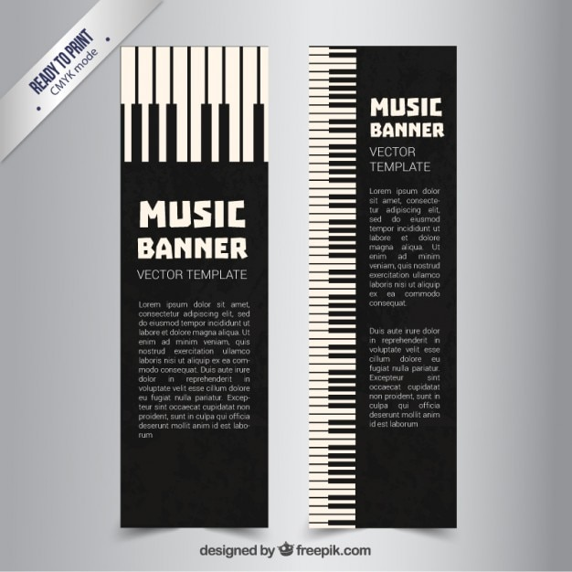 Piano Banners Free Vector