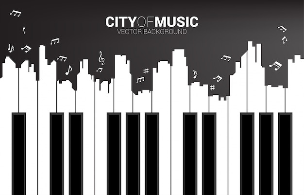 Piano key shaped the the big city outline silhouette.  classic song event and music festival Premium Vector