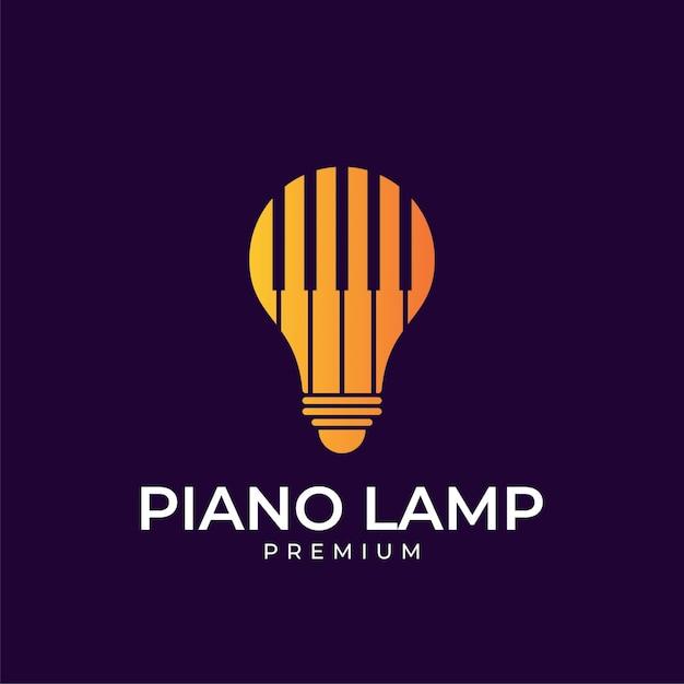 Пианино лампа дизайн логотипа Premium векторы