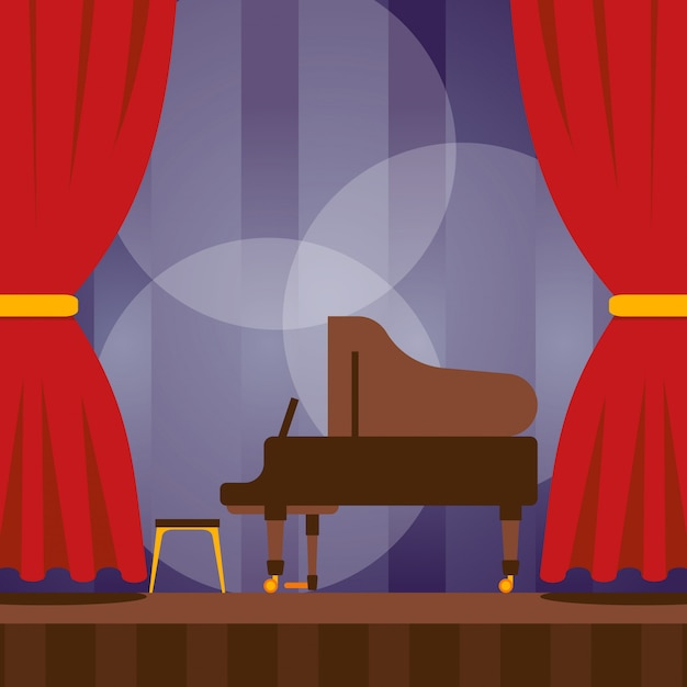 Piano on stage, illustration. musical concert performance, classical culture evening event. music festival announcement poster, stage with piano ready for concert Premium Vector