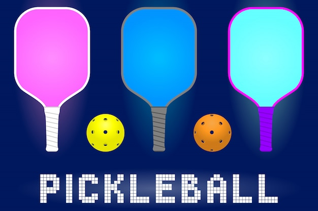 Pickleball paddle rackets a Premium Vector