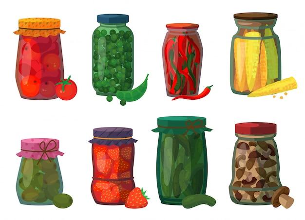 Pickled vegetables isolated cartoon set icon.   cartoon set icon preserve fruit. Premium Vector