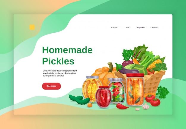 ピクルスコンセプトバナーウェブサイトランディングページデザインイメージテキストとクリック可能なリンクよりボタンイラスト 無料ベクター