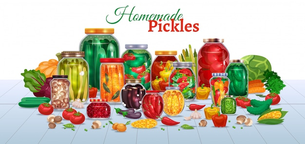 Pickles horizontal composition with lots of glass jars with vegetables text and pieces of ripe fruits  illustration Free Vector