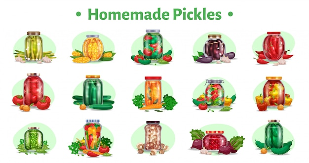 Pickles horizontal set of fifteen isolated images with marinated vegetables in glass jars with ripe fruits  illustration Free Vector