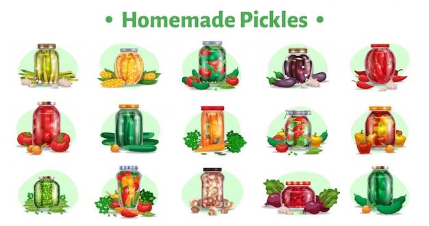 熟した果物のイラストがガラスの瓶に野菜のマリネと分離された15の画像のピクルス水平セット 無料ベクター