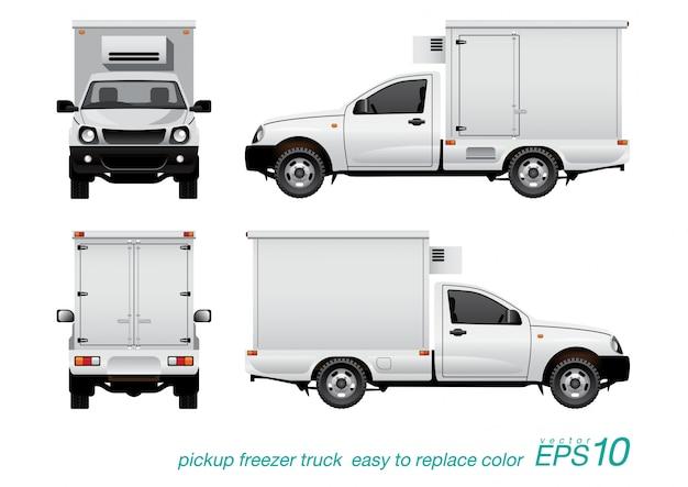 Pickup freezer truck. Premium Vector
