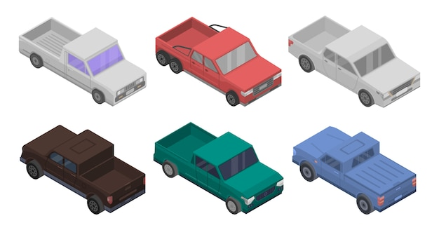 Pickup icons set, isometric style Premium Vector