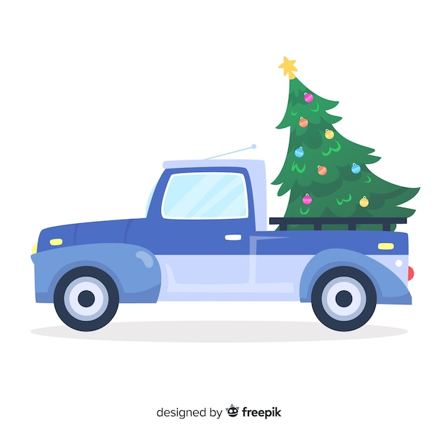 Free Christmas Tree Pick Up: Pickup Truck With Christmas Tree Vector