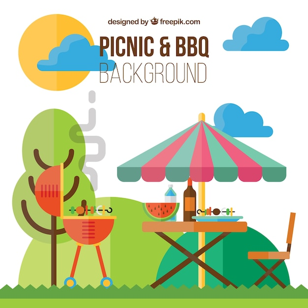 Picnic and barbecue background in flat\ design