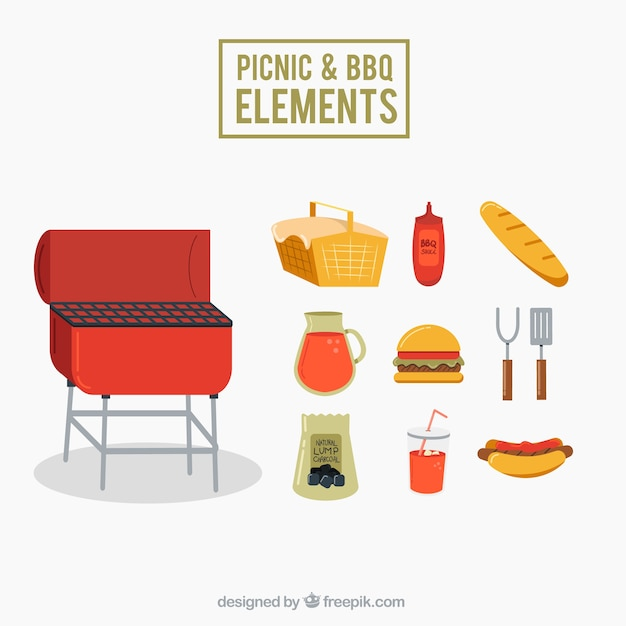 Picnic and bbq elements pack in flat\ design