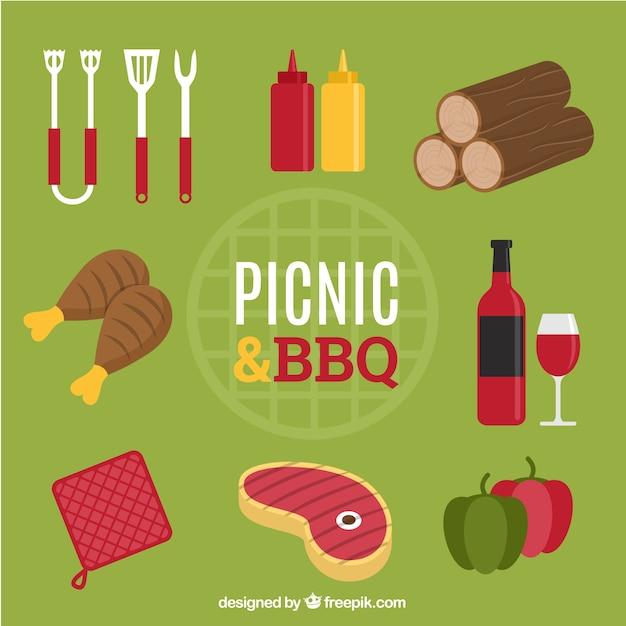 食物と一緒にピクニックやバーベキューの要素 無料ベクター