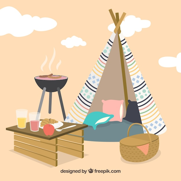 Picnic and bbq with a tipi background
