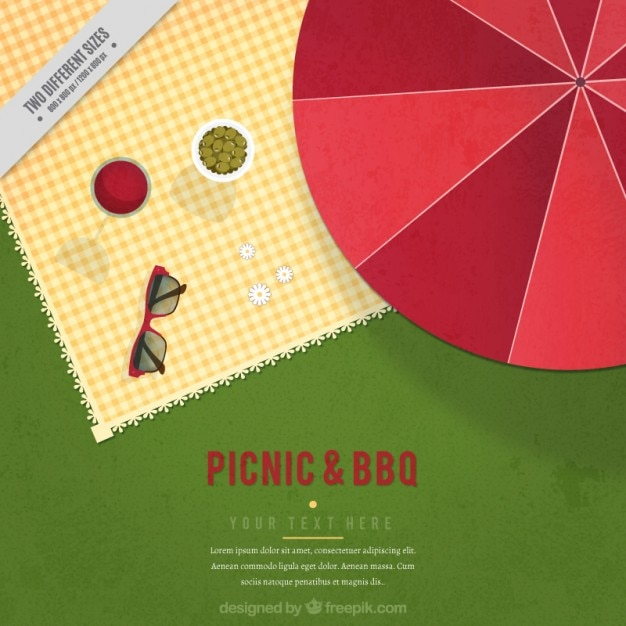 Picnic background in flat design