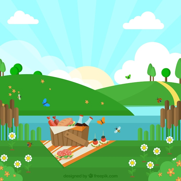 Picnic background near the river in flat\ design