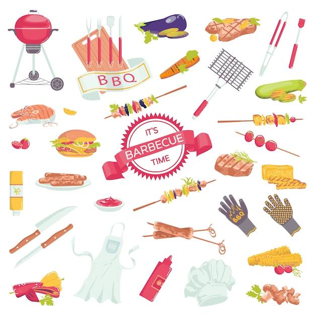 ステーキ、グリルソーセージ、サーモン、フォークコレクションのイラストがバーベキュー肉アクセサリーアイコンのピクニックバーベキューグリル食品セット。 Premiumベクター