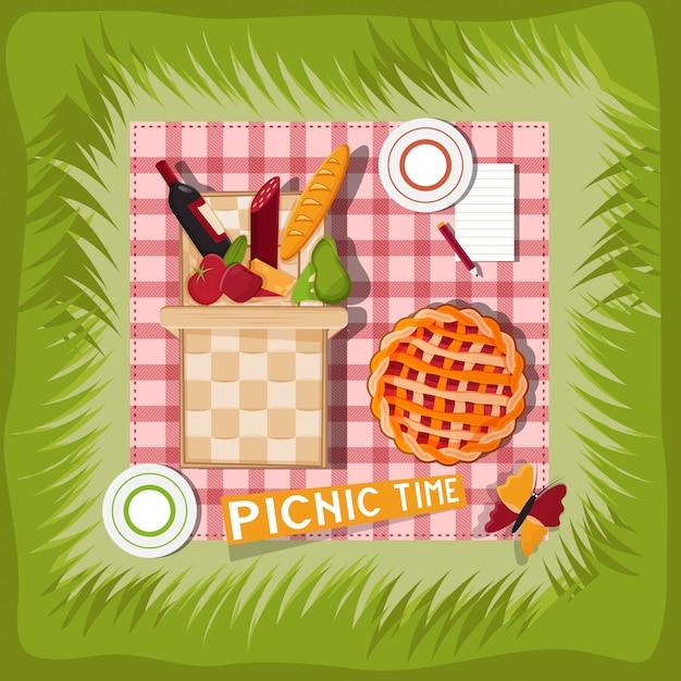 Premium Vector Picnic Basket Cartoon