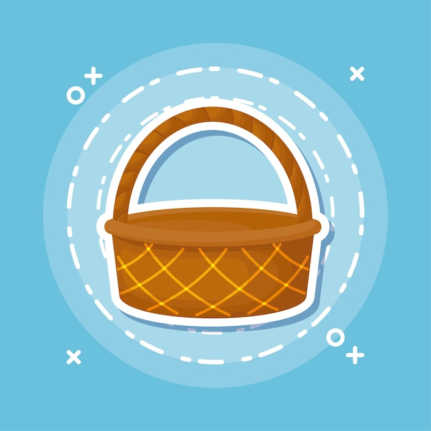 Picnic basket icon over blue background, colorful design. vector illustration Premium Vector