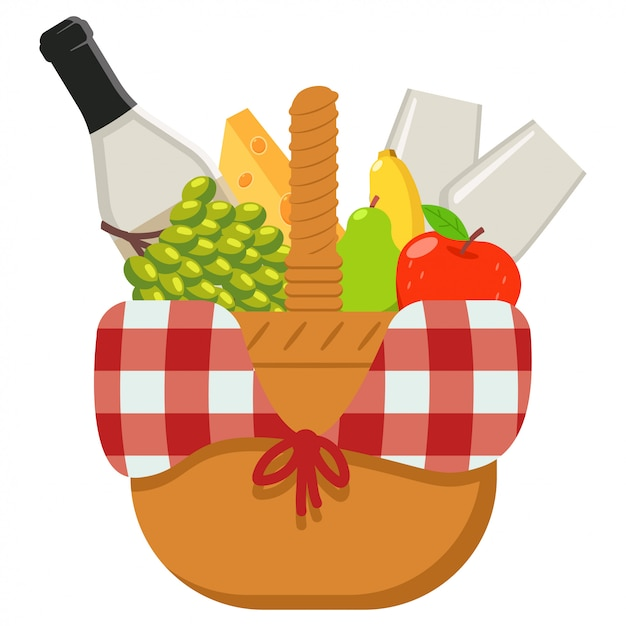 Premium Vector Picnic Basket Vector Cartoon Illustration Isolated On A White Background
