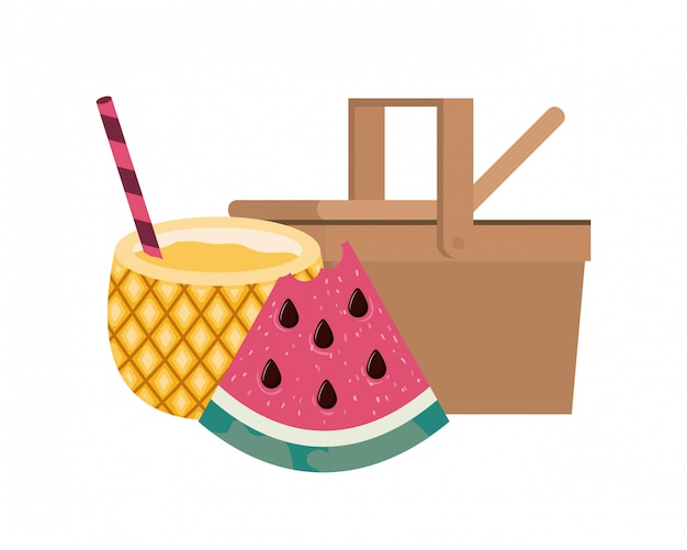 Picnic basket with pineapple cocktail on white Free Vector