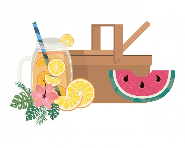 Picnic basket with refreshing drink for summer Free Vector