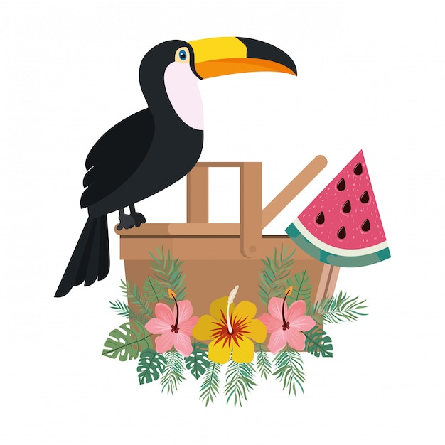 Picnic basket with tucan on white Free Vector
