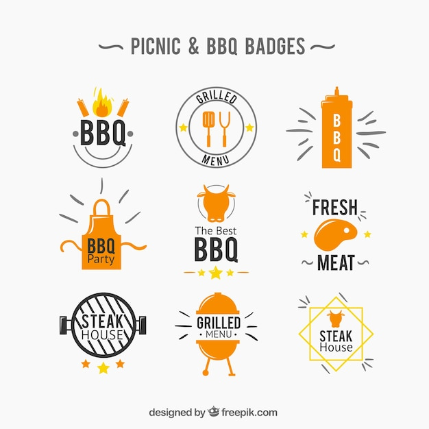 Picnic and bbq badge collection Free Vector