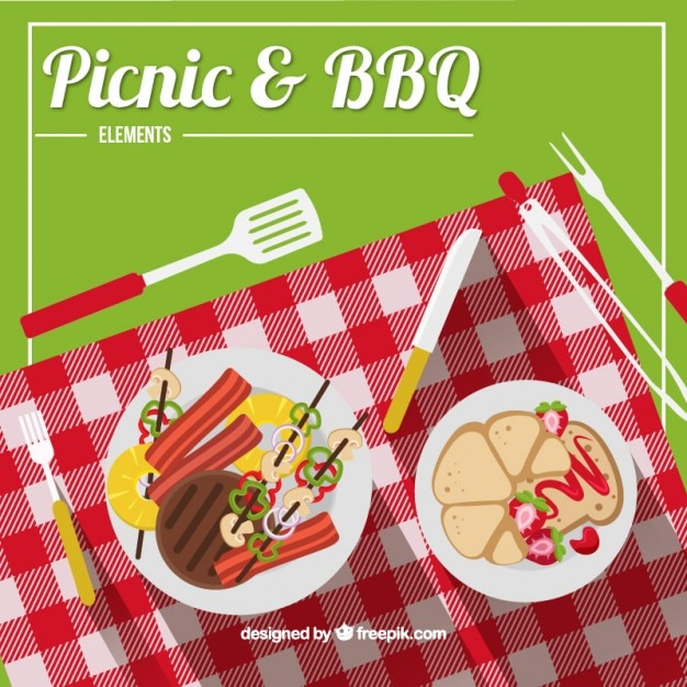Picnic and bbq wih a cheked cloth Free Vector