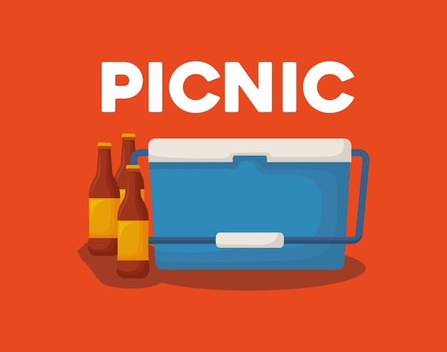 Picnic cooler and beer bottles Premium Vector