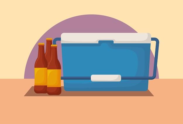 Picnic cooler and beer bottles Premium Vector
