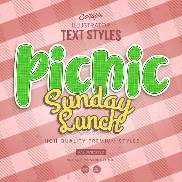 Picnic fabric text style Premium Vector