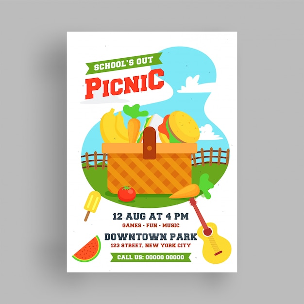 Premium Vector Picnic Flyer Or Poster Template
