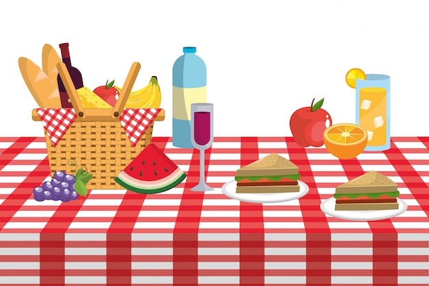 Picnic and food Premium Vector
