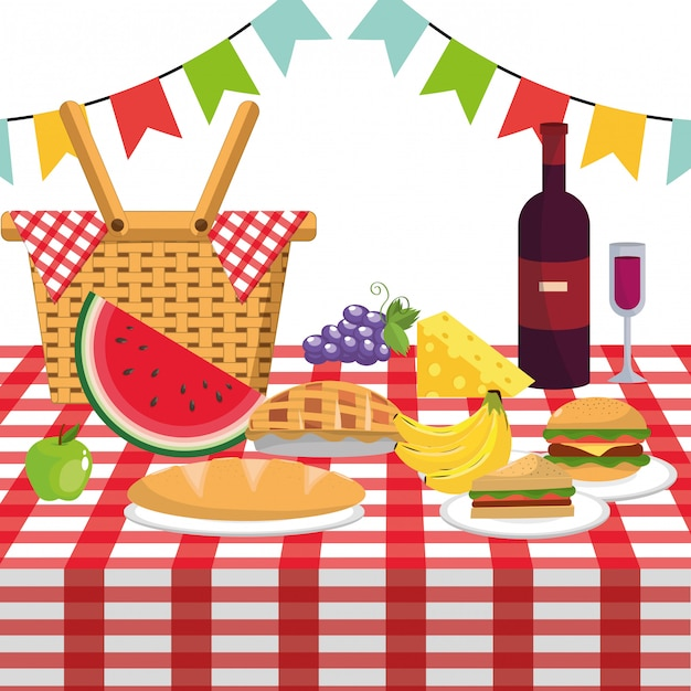Picnic and food Premium Vector