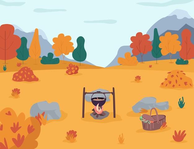 秋の森のセミフラットイラストでピクニック。森の中でのキャンプ。田舎での家族のレクリエーション時間のためのハイキング。焚き火の鍋。商業用の秋の季節の2d漫画の風景 Premiumベクター