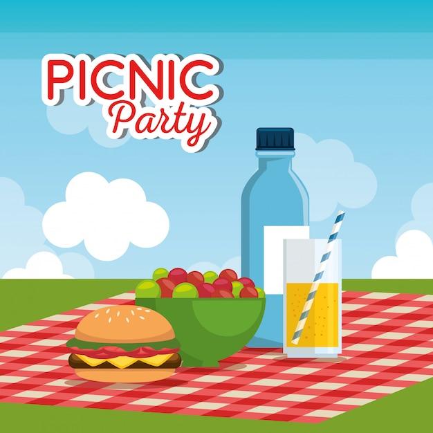 Picnic party celebration scene Free Vector