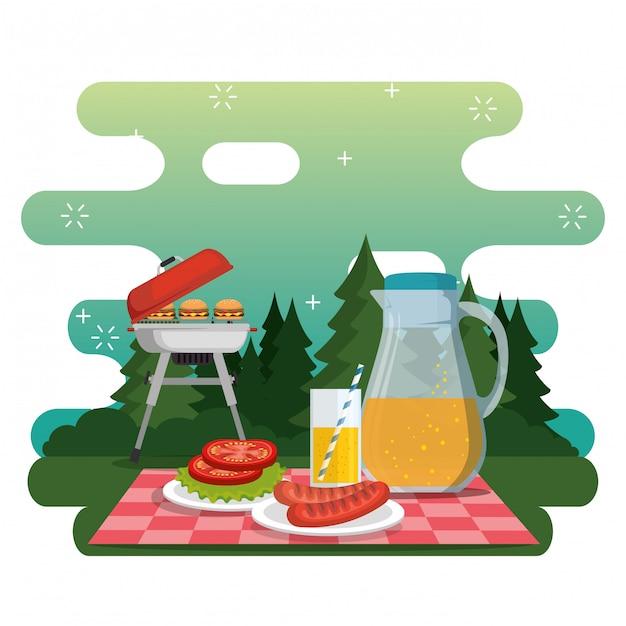 ピクニックパーティーのお祝いシーン 無料ベクター