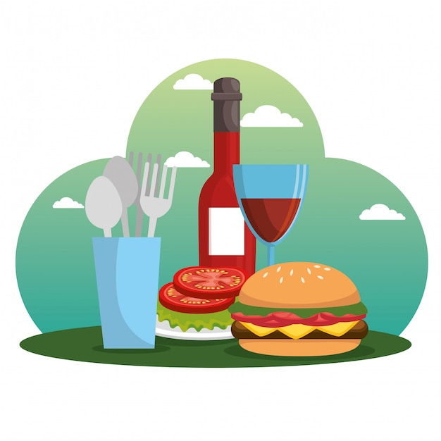 Picnic party celebration scene Free Vector