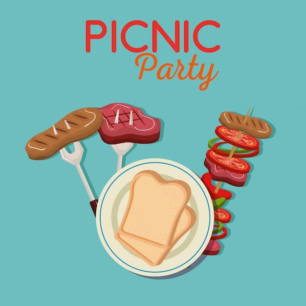 Picnic party invitation set icons Free Vector