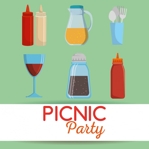 Picnic party invitation set icons Free Vector
