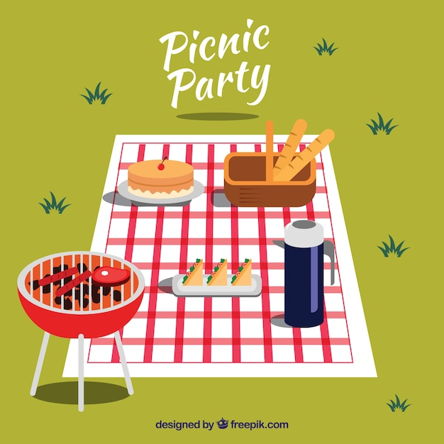 Picnic scene with barbecue