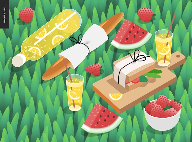 Picnic snack and grass template Premium Vector