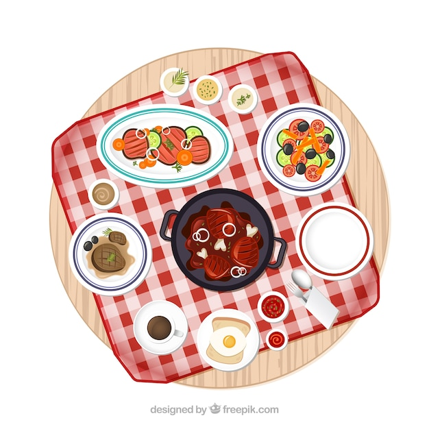 Picnic table with variety of food dishes
